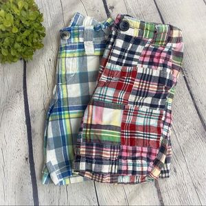 Old Navy Patchwork and Plaid Shorts Lot Of 2
